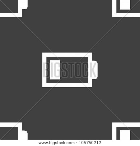 Battery Low Level Sign Icon. Electricity Symbol. Seamless Pattern On A Gray Background. Vector
