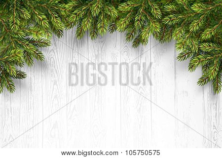 Christmas wooden background with fir branches. Vector illustration