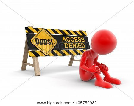 Access denied sign (clipping path included)