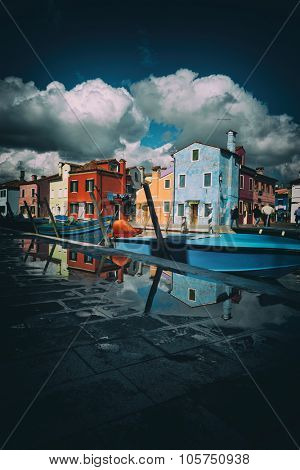 Island and Village of Burano with its famous colorful houses near Venice, Italy