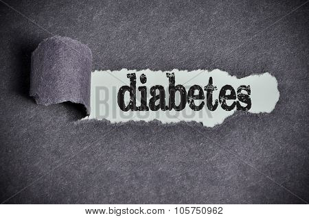 Diabetes Word Under Torn Black Sugar Paper