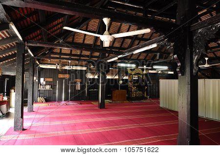 Interior of Masjid Kampung Laut at Nilam Puri Kelantan