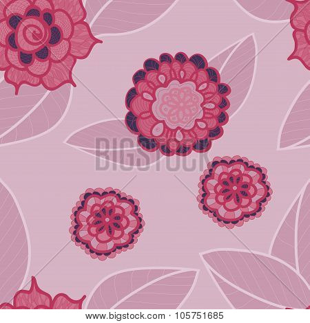 Vector Pink Seamless Pattern With Doodle Flowers. Pale Red Floral Background.