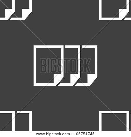 Copy File Sign Icon. Duplicate Document Symbol. Seamless Pattern On A Gray Background. Vector