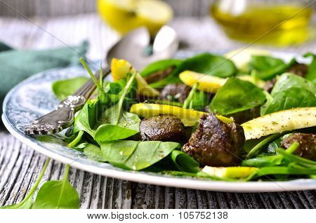 Baby Spinach Salad With Beef Liver And Apple.