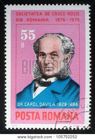 ROMANIA - CIRCA 1976: a stamp printed in Romania shows Dr. Carol Davila (1828-1884) organizer of the country's public health system and Red Cross Society, circa 1976.