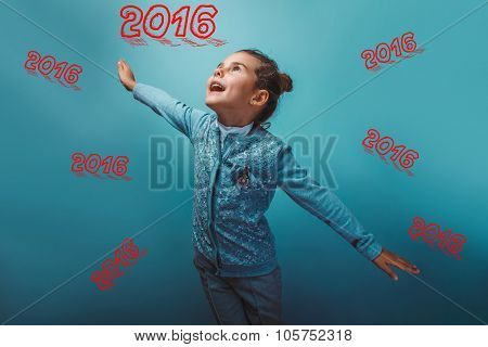 girl teen her arms flying inscription 2016, two thousand fifteenth year