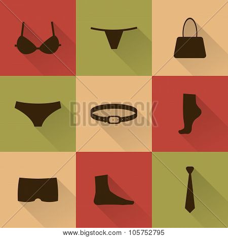Vector Collection Of Silhouettes Of Underware And Accessories