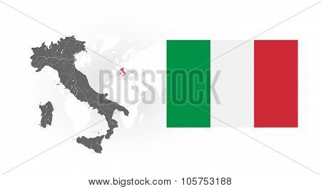 Map Of Italy With Rivers And National Flag Of Italy.
