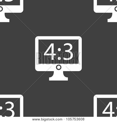 Aspect Ratio 4 3 Widescreen Tv Icon Sign. Seamless Pattern On A Gray Background. Vector