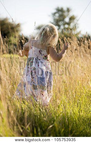 Child Walking Though Long Grass