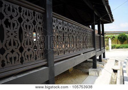 TImber railing detail at Kampung Laut Mosque at Nilam Puri Kelantan, Malaysia