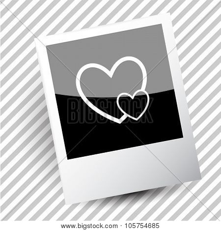 careful heart. Photoframe. Vector icon.