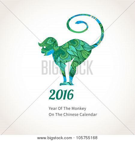 Vector Illustration Of Monkey, Symbol Of 2016.