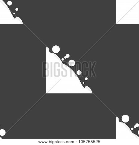 Rockfall Icon. Seamless Pattern On A Gray Background. Vector