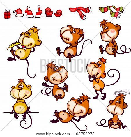Set chinese zodiac monkey