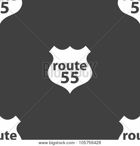 Route 55 Highway Icon Sign. Seamless Pattern On A Gray Background. Vector