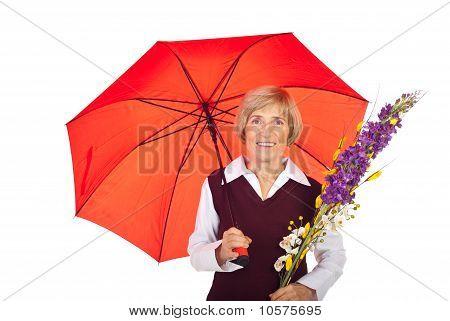 Attractive Senior Woman With Umbrella