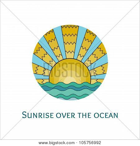 Stained-glass Window Style Illustration Of Sunrise Over The Ocean