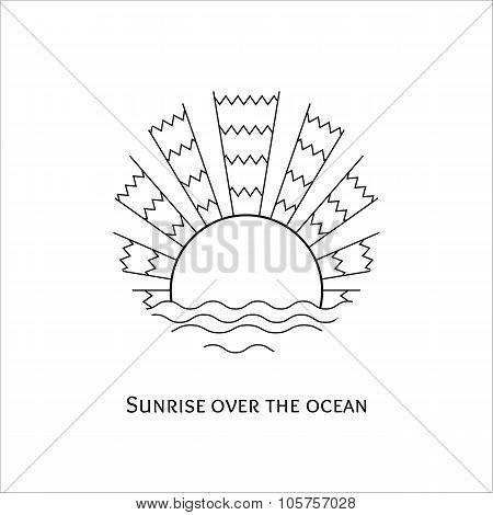 Line Art Illustration Of Sunrise Over The Ocean