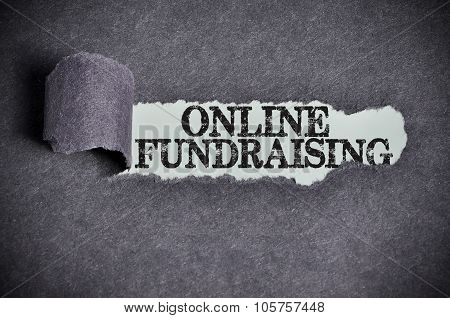 Online Fundraising Word Under Torn Black Sugar Paper