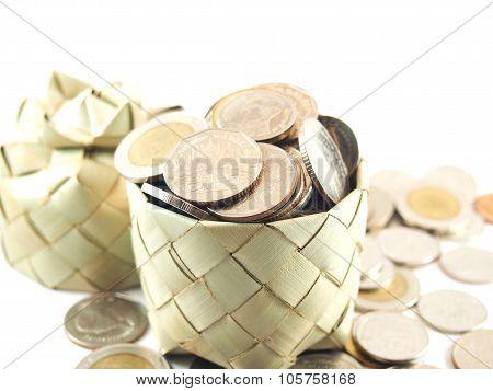 Money, Coins In Full, On Weave Basket