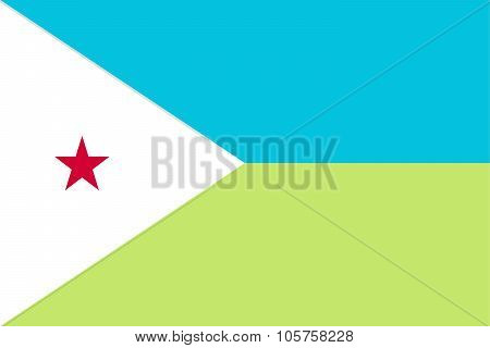 National Flag Of Djibouti In Official Colors And Proportions