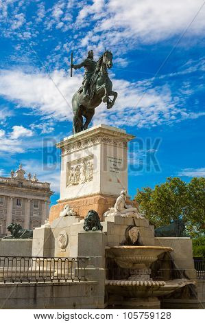 Monument Of Philip Iv Of Spain In Madrid