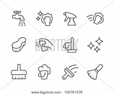 Outline Cleaning Icons