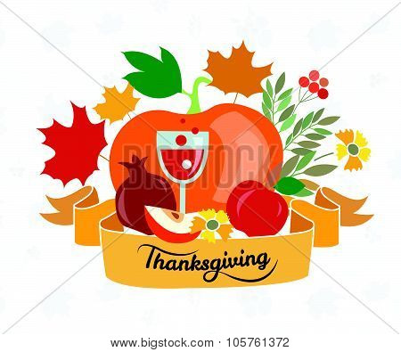 Happy Thanksgiving Day Logotype, Badge And Icon Set