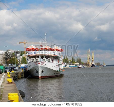 SZCZECIN POLAND - MAY 02 2015: Tourist boat with restaurant on the Odra river
