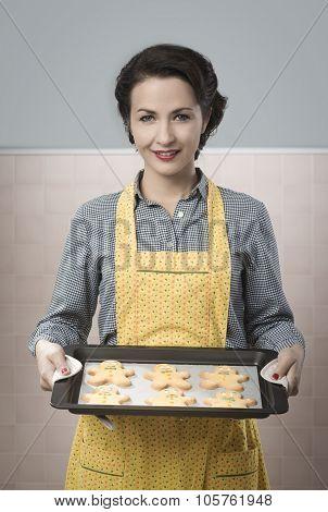 Woman Cooking Gingerbread Men