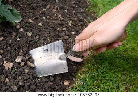 Woman Using Hand Trowel To Dig