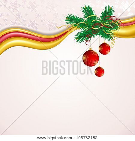 Christmas background with red balls and green branches.