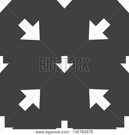 Download Sign. Downloading Flat Icon. Load Label. Seamless Pattern On A Gray Background. Vector