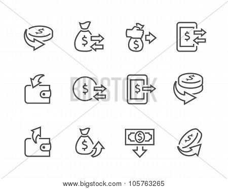 Lined Money Moving Icons