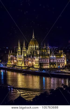 Hungarian Residency Parliament At Night