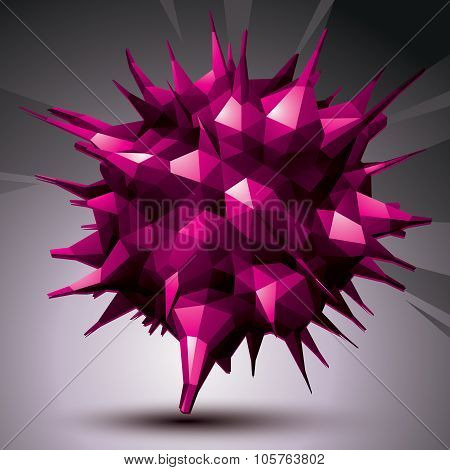 Vector Digital 3D Abstraction, Geometric Polygonal Element. Spatial Technological Bright Shape Persp