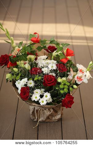 Bunch Of Roses And Chrysanthemums