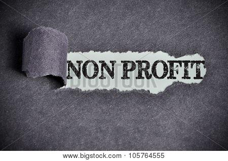 Non Profit Word Under Torn Black Sugar Paper
