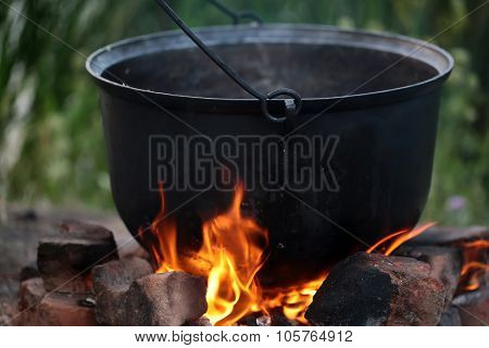 Cauldron On Open Fire