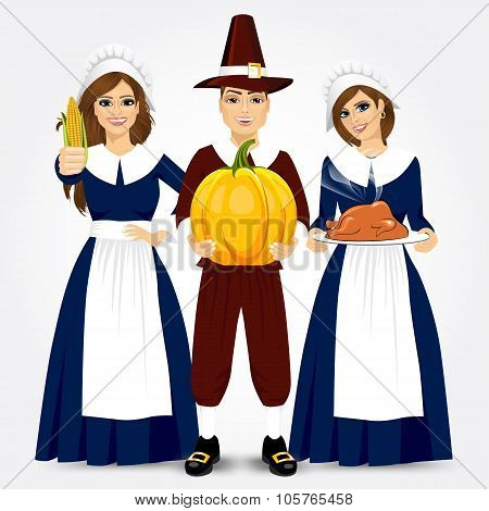 illustration for thanksgiving of the pilgrims