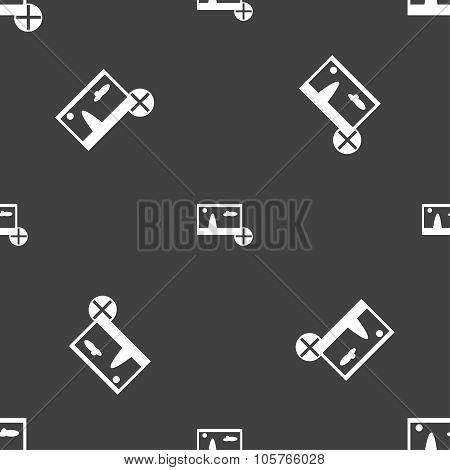 Plus, Add File Jpg Sign Icon. Download Image File Symbol. Seamless Pattern On A Gray Background. Vec