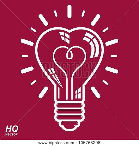 Vector Brain Storm Conceptual Icon - Corporate Problem Solution Theme. Electricity Light Bulb Symbol