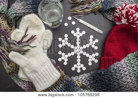 concept snowflakes made from medicinal tablets