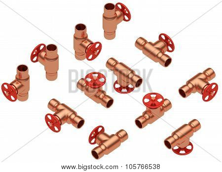 Copper Valves Set