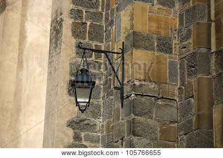 Time-worn Stone House With Street-lamp