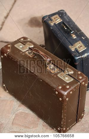 Brown And Blue Vintage Suitcases