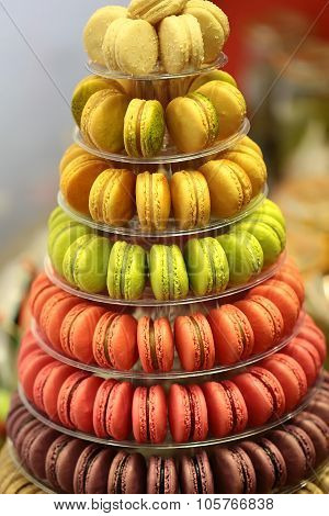 French Macarons On Cake Stand