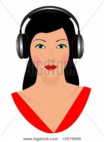 The girl in black headphones. Vector illustration